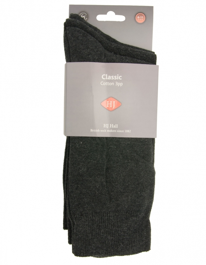 H J Hall 3 Pack Cotton Rich Socks - Charcoal
