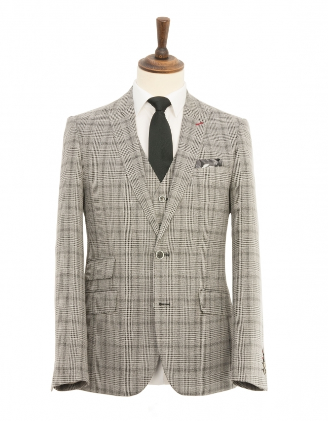 Harry Brown 3 Piece Slim Fit Check Suit - Grey