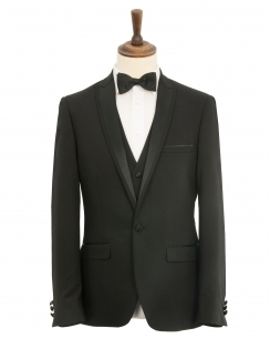 3 Piece Slim Fit Dinner Suit - Black