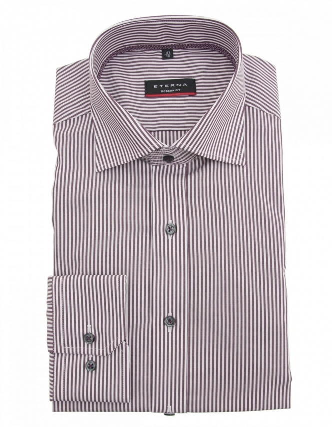 Eterna 4250 Modern Fit Striped Pure Cotton Shirt - Wine