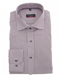 4250 Modern Fit Striped Pure Cotton Shirt - Wine