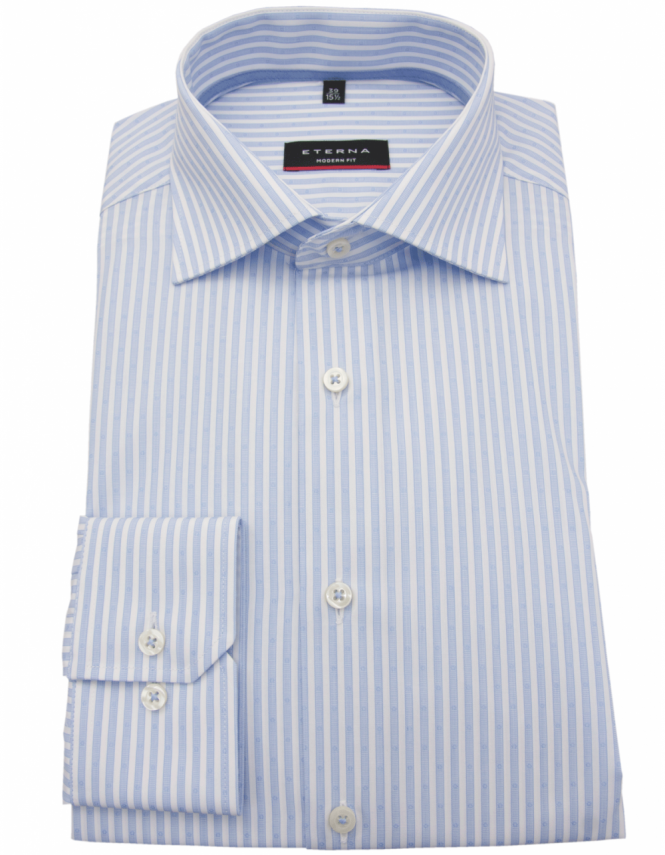 Eterna 4253 Modern Fit Pure Cotton Bengal Stripe Shirt - Blue