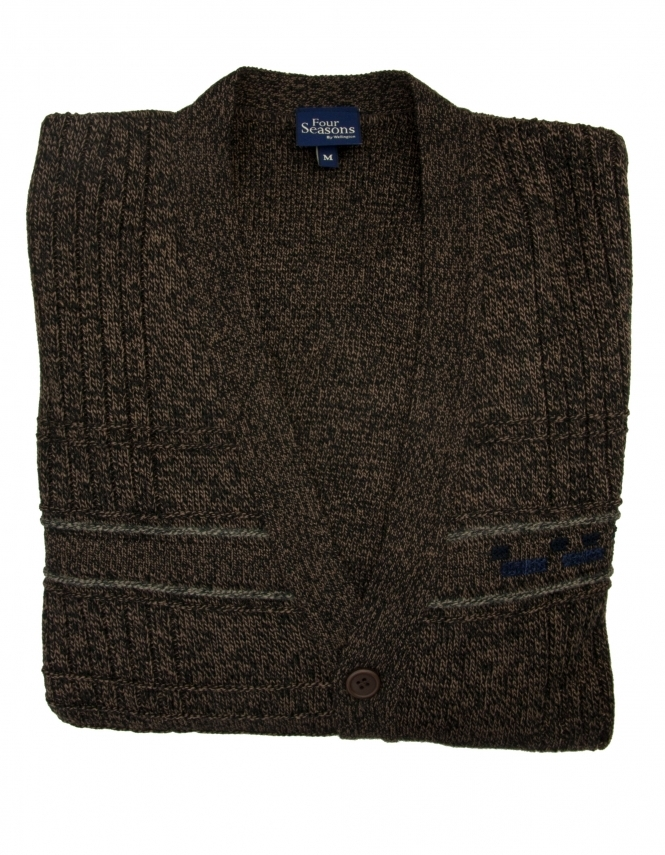 Four Seasons 5 Button College Cardigan - Brown