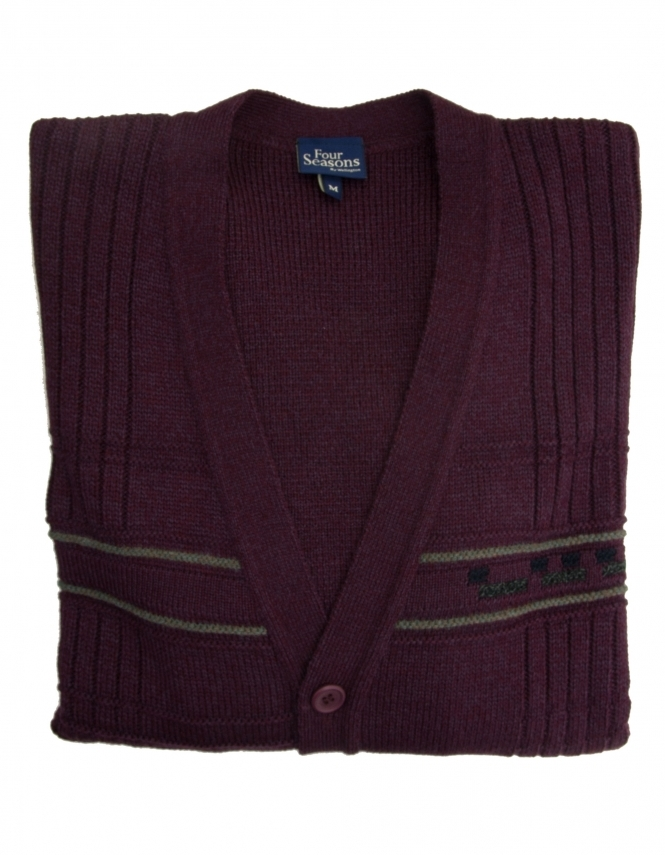 Four Seasons 5 Button College Cardigan - Burgundy