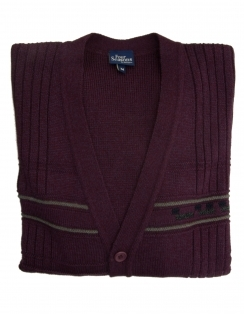 5 Button College Cardigan - Burgundy