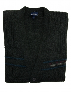 5 Button College Cardigan - Charcoal
