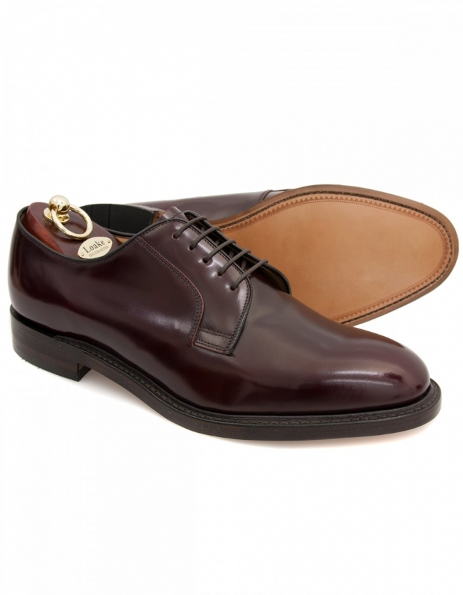 Loake 771T - Plain Derby Polished Lace Shoes - Burgundy