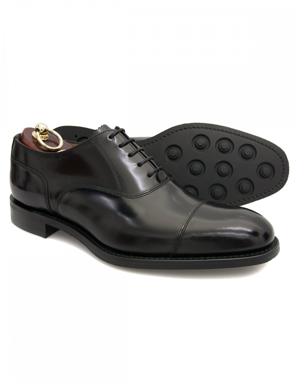 2926b684cd78d Loake 806 Black Oxford Toe Cap with Rubber Stud Soles