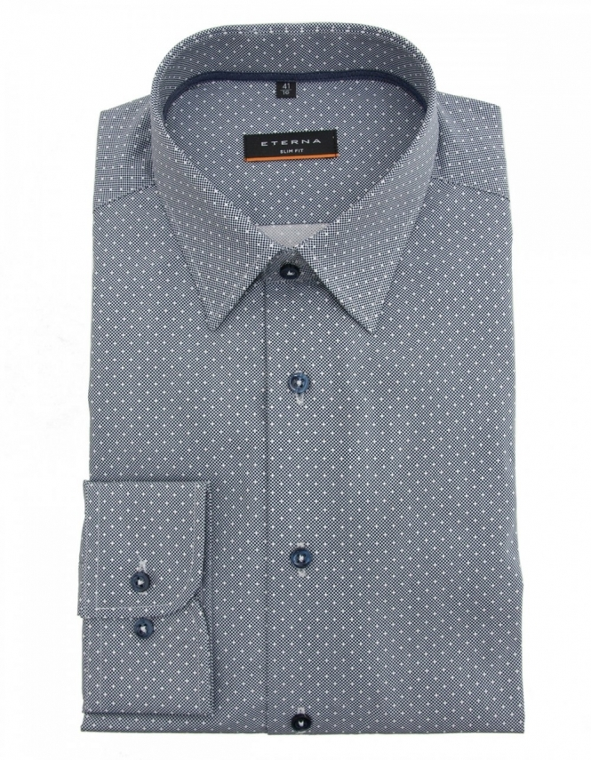 Eterna 8266 Slim Fit Pure Cotton Patterned Shirt - Black & White