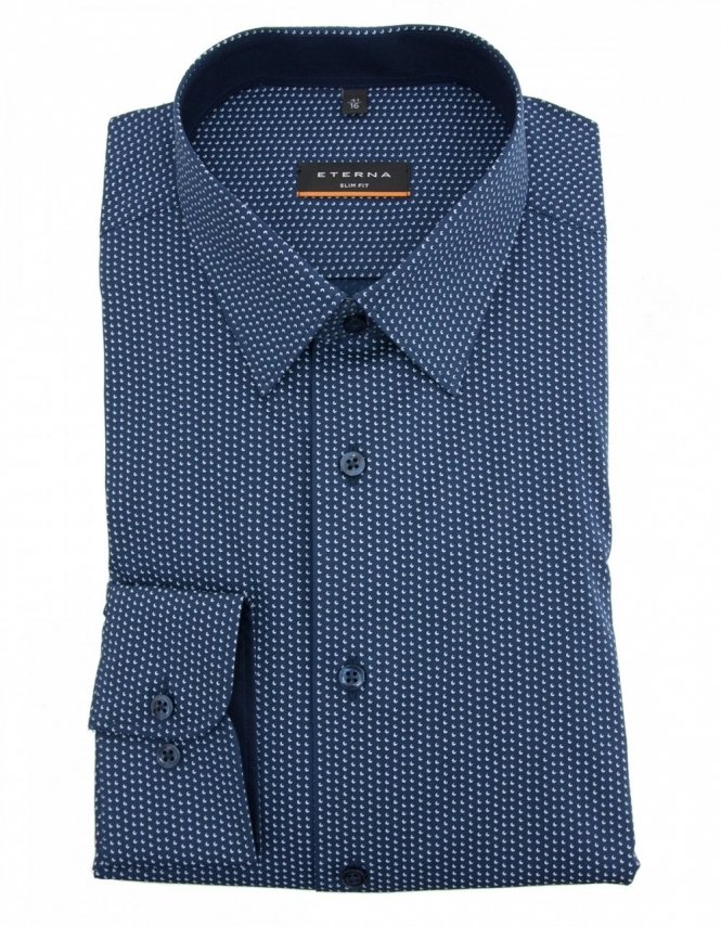 Eterna 8384 Slim Fit Pure Cotton Patterned Shirt - Navy