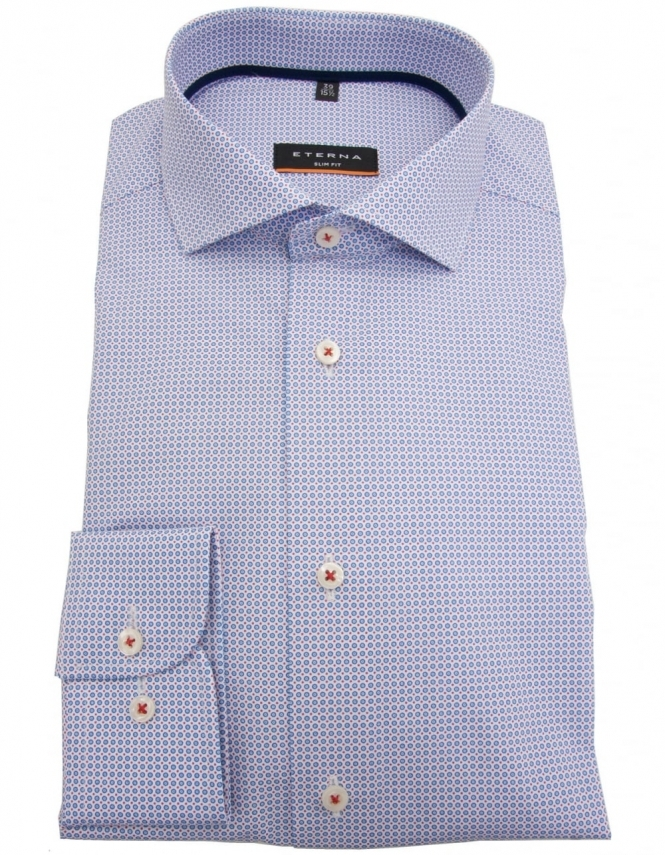 Eterna 8759 Slim Fit Pure Cotton Patterned Shirt - Blue