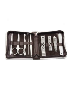 9 Piece Manicure Set - Brown
