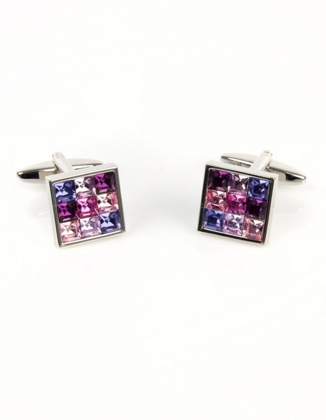 Dalaco 9 Pink Crystals Square Cufflinks 90-1157
