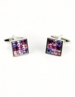 9 Pink Crystals Square Cufflinks 90-1157