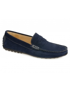 Amalfi Suede Saddle Moccasin - Navy