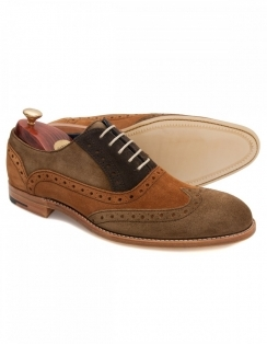 Barker Grant Suede Brogue Lace Shoe - Brown Tan Olive
