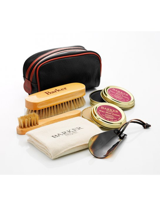 barker shoe care kit with leather