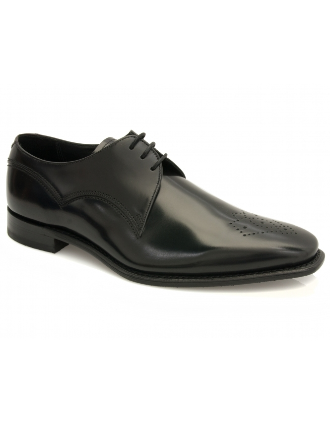 Barker Barnaby Toe Punched Hi Shine Leather Derby - Black