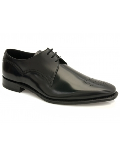 Barnaby Toe Punched Hi Shine Leather Derby - Black