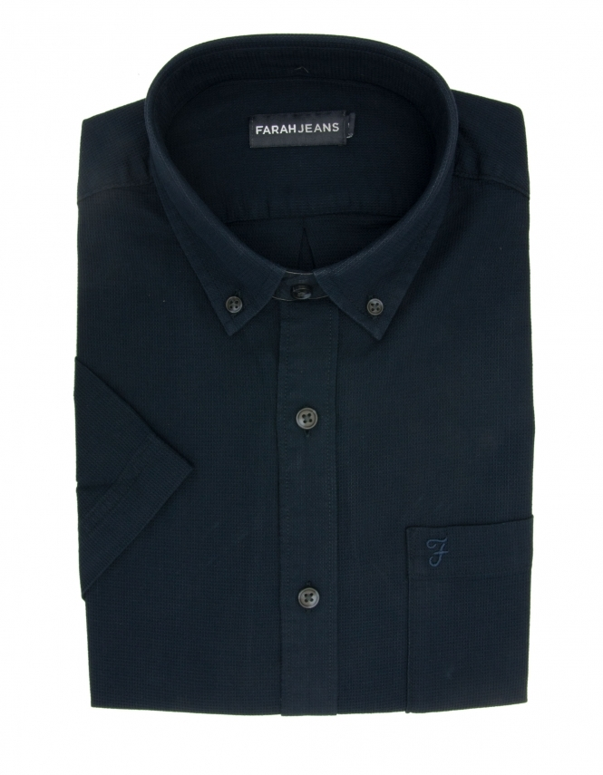 Farah Barnett Pure Cotton Half Sleeve Shirt - Navy