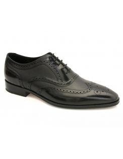 Baskerville Leather Oxford Brogue Shoe - Black