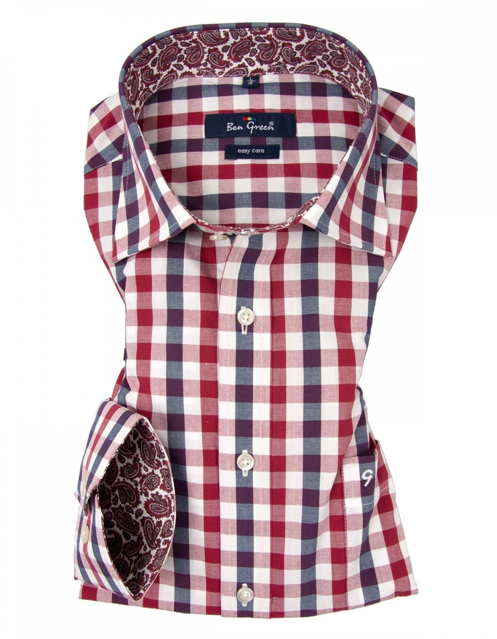 Ben green pure cotton red check shirt easy care for Red and green checked shirt
