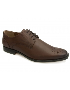 Birkdale Toe Punched Leather Derby - Brown