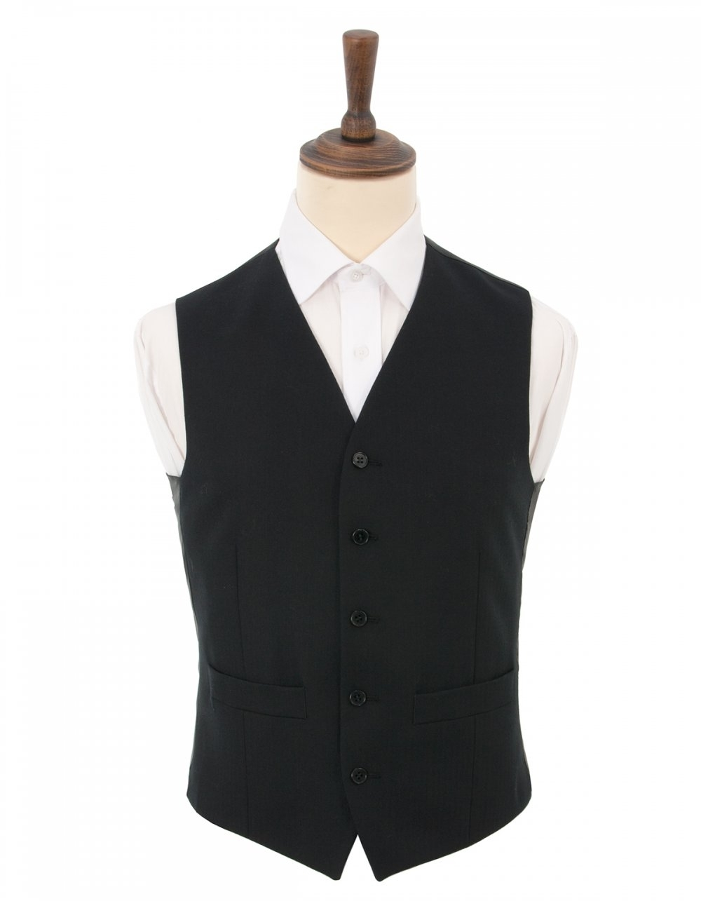 "100/% Wool Black Herringbone Waistcoat 46/"" Long"