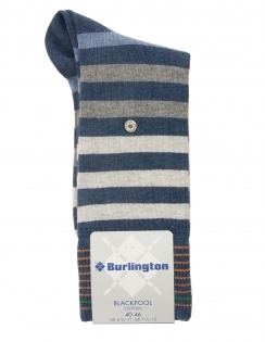 Blackpool Striped Sock - Blue Grey