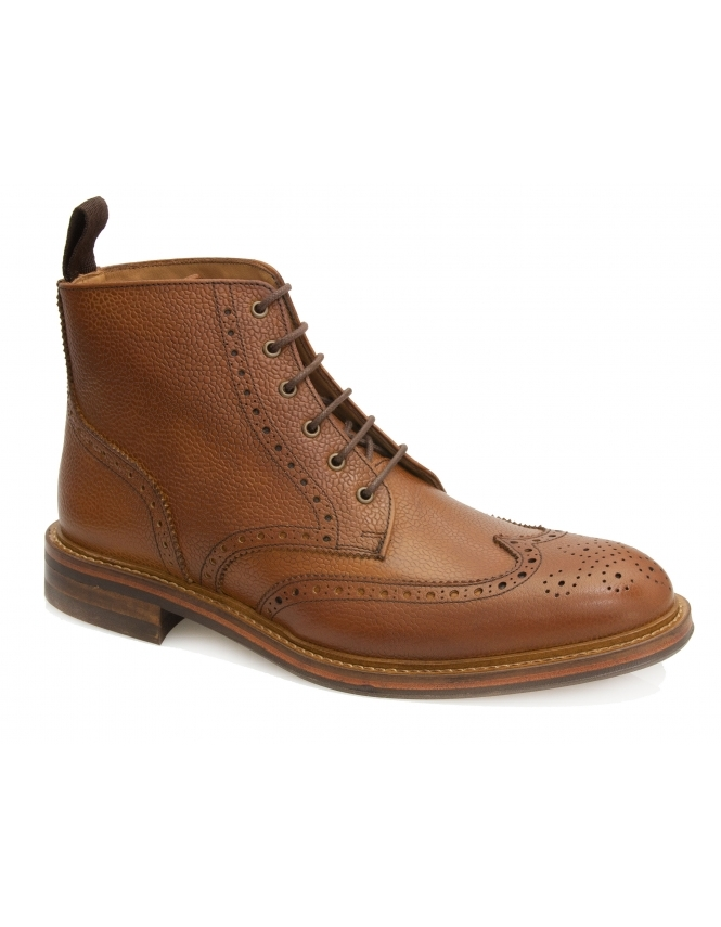 John White Bourton Grain Leather Brogue Boot - Tan