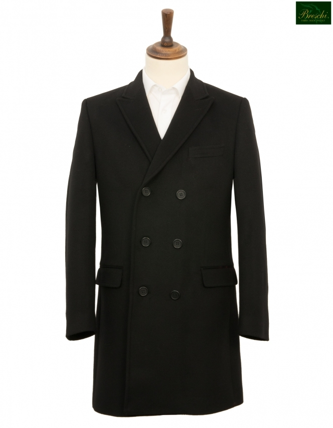 Santinelli Brent Double Breasted Wool & Cashmere Overcoat - Black