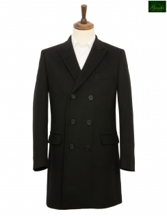 Brent Double Breasted Wool & Cashmere Overcoat - Black
