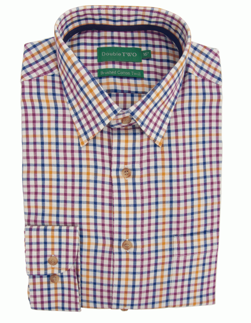 Brushed cotton twill check shirt gold fields menswear for Brushed cotton twill shirt
