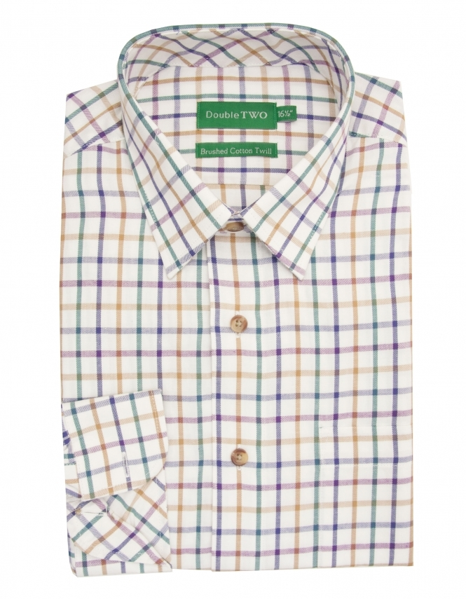 Double Two Brushed Cotton Twill Check Shirt - Plum