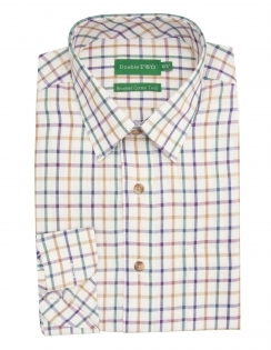 Brushed Cotton Twill Check Shirt - Plum