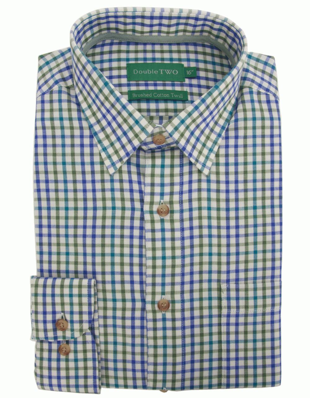 Brushed cotton twill check shirt sage fields menswear for Brushed cotton twill shirt