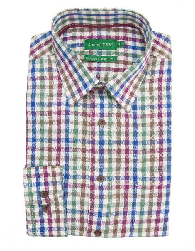 Double Two Brushed Cotton Twill Check Shirt - Wine
