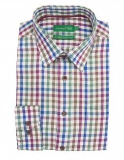 Brushed Cotton Twill Check Shirt - Wine