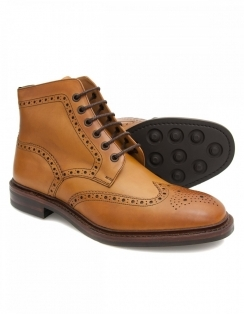 Burford Tan Calf Brogue Boot with Dainite Rubber Sole