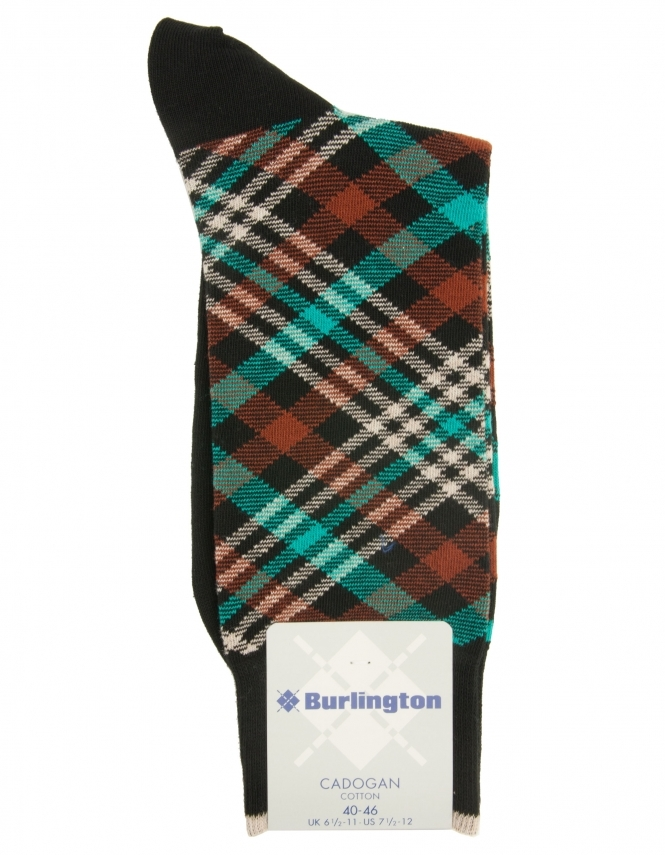 Burlington Cadogan Check Sock - Black