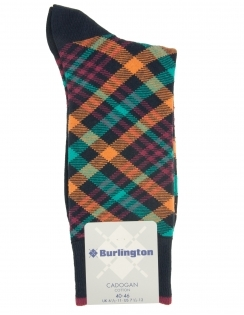 Burlington Cadogan Check Sock - Navy