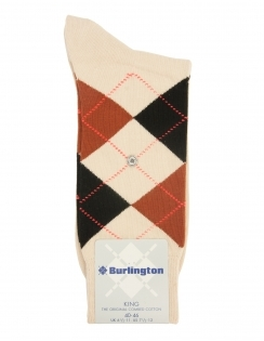 Burlington King Argyle Sock - Beige