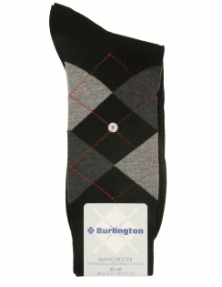 Burlington Manchester Argyle sock - Mercerised Cotton - Black
