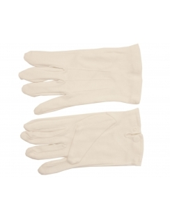 Button Fastening Cotton Gloves - White