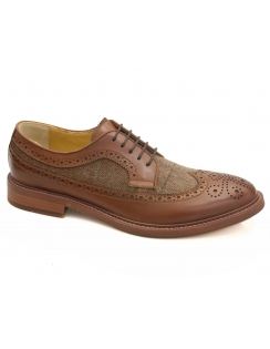 Buxton Leather & Tweed Brogue - Brown