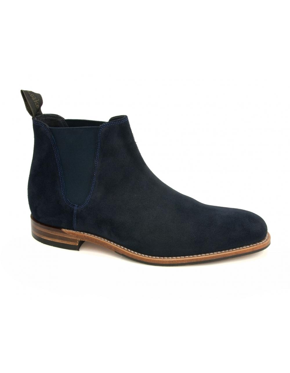 caine suede chelsea boot navy fields menswear