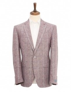 Calais Linen Blend Check Jacket - Berry
