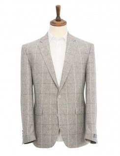 Calais Linen Blend Check Jacket - Grey