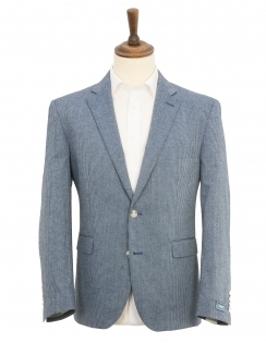 Calais Striped Linen Blend Jacket - Blue