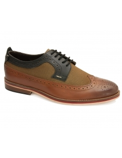 Caleb Multi Brogue - Beige & Black